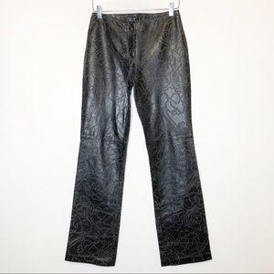 Vakko New York Leather laser cut Print Pants